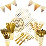 White and Gold Party Supplies Set - Services 24   Gold Party Plates Baby Shower Plates   Disposable Dinnerware Set Includes Knives Spoons Forks Paper Plates Napkins Cups Banner for Birthday Wedding