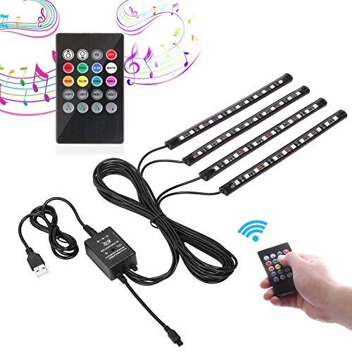 USB LED Streifen Auto Innenbeleuchtung Musik Sync Underdash LED Lichtleiste RGB Wasserdicht LED Stripes, 4x22cm