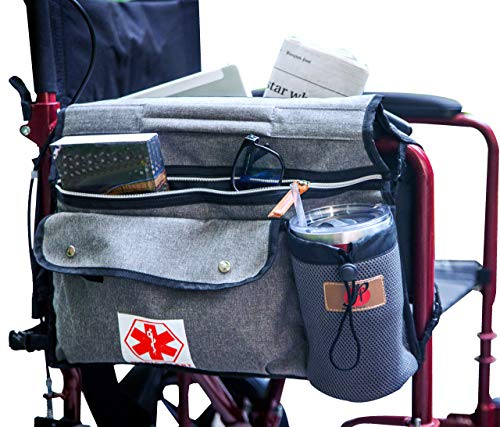 Wheelchair Side Pouch Bag(Double-Side) with Cup and Phone Holder for Manual, Electric or Power Mobility Scooter Full ARMREST by P&F for Lightweight Transport - Deluxe Wheelchair Accessories (Gray)