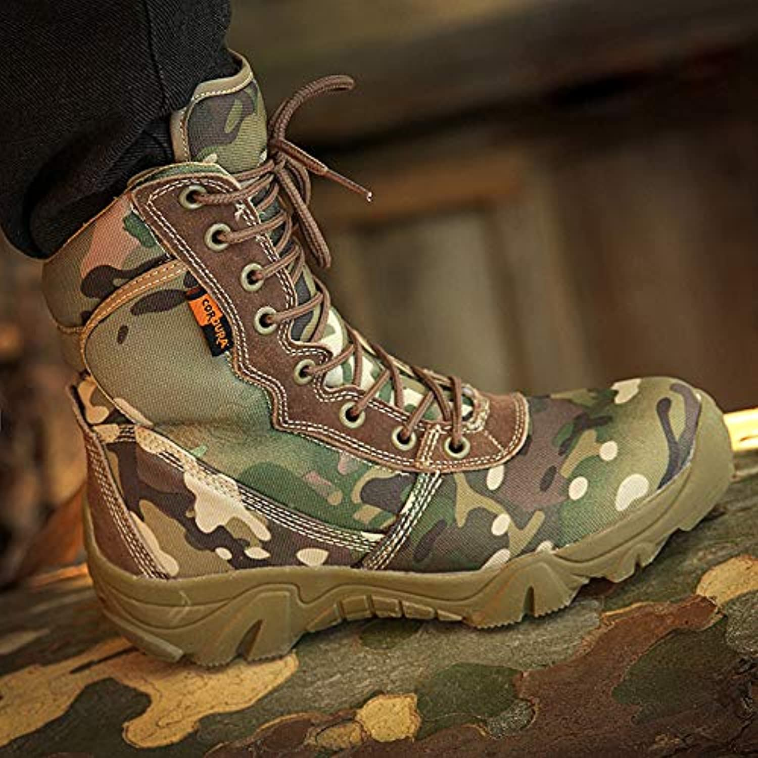 HCBYJ shoes Camouflage military boots commando combat boots desert tactical training autumn and winter outdoor hiking shoes land warfare ultralight