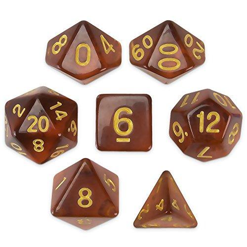 Brybelly Series III Wiz Dice Set of 7 Polyhedral Dice (Desert Topaz)