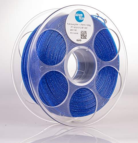 AZUREFILM 3D Filamento PLA Glitter per stampa 3D professionale 1,75 mm - Accessori di stampa 3D indispensabili - Precisione dimensionale elevata +/- 0,02 mm, Bobina 1 kg, Blu - Senza bolle