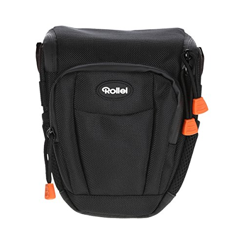 Rollei Fotoliner Holstertasche M - Hochwertige und gepolsterte Kameratasche zum Transportieren Ihrer DSLR Kamera, inkl. Tragegurt und Regenschutz - Größe: 16 x 11 x 20