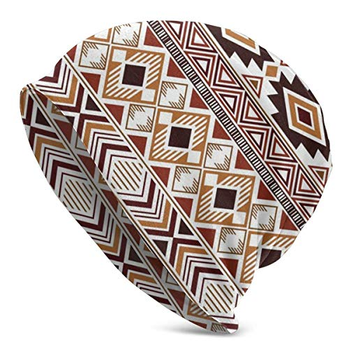 Hdadwy Gorros de Punto de Gorro de Invierno marrón geométrico Tribal Indio para Hombres y Mujeres Gorra de Calavera Suave
