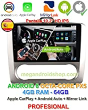 Radio 2din GPS, Android 8, Pantalla IPS, OctaCore PX5 64bits, 4GB DDR3 RAM, 64GB Apple Car Play Android Auto Ford Focus MK2 de 2004 a 2011 con climatizador (no Aire Acondicionado)