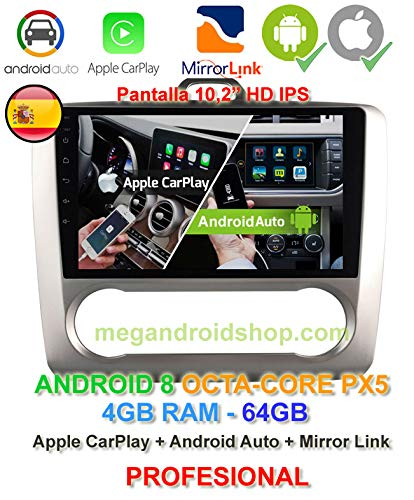 Radio 2din GPS, Android 10, Pantalla IPS, OctaCore PX5 64bits, 4GB DDR3 RAM, 64GB Apple Car Play Android Auto Ford Focus MK2 de 2004 a 2011 con climatizador (no Aire Acondicionado)