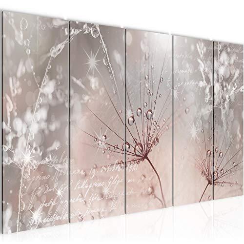 Wandbilder Pusteblume 200 x 80 cm Vlies - Leinwand Bild XXL Format Wandbilder Wohnzimmer Wohnung Deko Kunstdrucke Rosa Grau 5 Teilig - MADE IN GERMANY - Fertig zum Aufhängen 205555b
