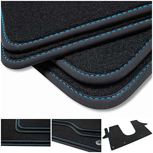 teileplus24 BV562 Velours Fußmatten für VW T5, T6 und T6.1 Trittschutz Fahrermatte, Naht:Blau