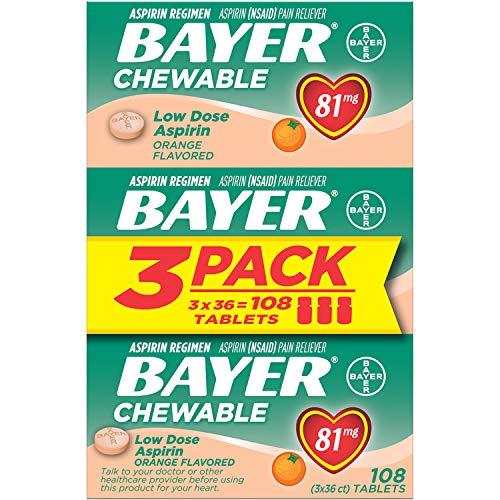 Aspirin Regimen Bayer 81mg Chewable Tablets   #1 Doctor Recommended Aspirin Brand   Pain Reliever   Orange Flavor   108 Count