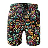 YongColer Casual Mens Swim Trunks Quick Dry Psychedelic Trippy DJ Art Black Printed Beach Shorts Summer Boardshorts,XXL