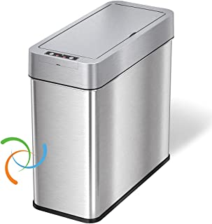 iTouchless 4 Gallon Slim Sensor Trash Can with AbsorbX Odor Control System, Lid Opens Left, 15 Liter Stainless Steel Autom...
