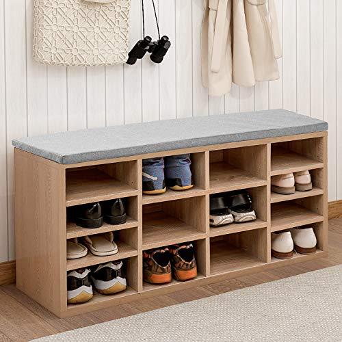 TUIHJA Banco de zapatos de madera natural, gabinete de almacenamiento de zapatos, organizador de zapatos con asiento acolchado para entrada y pasillo