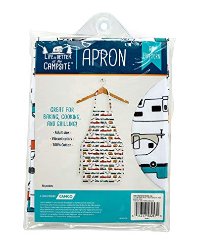 Camco Life is Better at The Campsite Adjustable Apron-Multi Color Retro RV Pattern, for Baking Cooking and Grilling (53257),Multicolor