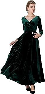 Women Long Sleeve V-Neck Velvet Stretchy Long Dress