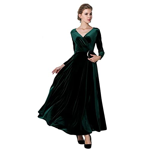 Urban CoCo Women Long Sleeve V-Neck Velvet Stretchy Long Dress 4d51009e42
