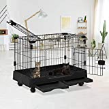 Cat Cage Cat Crate Kennels Pet Playpen w/ Two Door Large Kitten House Furniture w/ Wheels & Removable Tray Wire Metal Pet Enclosure Cat House for Rabbit Guinea Pigs Ferret Kitty