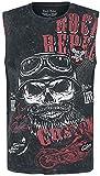 Rock Rebel by EMP Schwarzes Tank-Top mit Waschung und Print Hombre Top Tirante Ancho Negro M