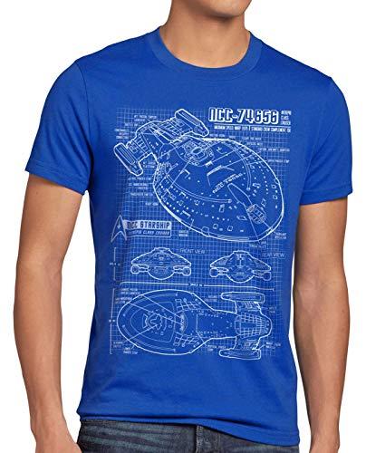 style3 NCC-74656 Voyager T-Shirt Herren Trek Trekkie Blaupause, Größe:XL, Farbe:Blau