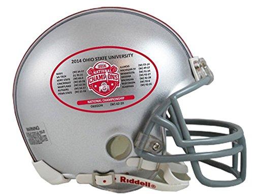 Riddell NCAA Ohio State Buckeyes Mini Replica 2014 National Champ Schedule Helmet, Small, Gray