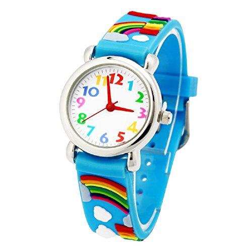 El Reloj de Niños de Vinmori, Reloj de Cuarzo con Dibujos Animados Bonitos de 3D a Prueba de Agua Regalo para Chicos Niños y Niñas Rainbow-Blue