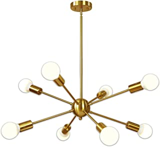 Lámparas de araña, Lámpara colgante de latón pulido de 8 luces Dorado Medio siglo Moderno Accesorio de iluminación de techo estilo Starburst para comedor Cocina Dormitorio Vestíbulo