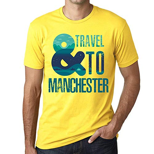 One in the City Hombre Camiseta Vintage T-Shirt Gráfico and Travel To Manchester Amarillo