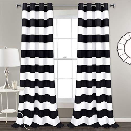 Striped Window Curtains, Black and White Striped Curtains with Grommets for Bedroom Living Room, Set of 2 Panels, 52 x 84 Inch Length