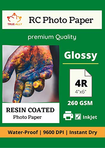 True-Ally 100 Premium 260 GSM RC (Resin Coated) Water Proof Instant Dry Luster Glossy Inkjet Photo Paper 4R 4x6 inch (102x152mm) (4R - 100 sheets)