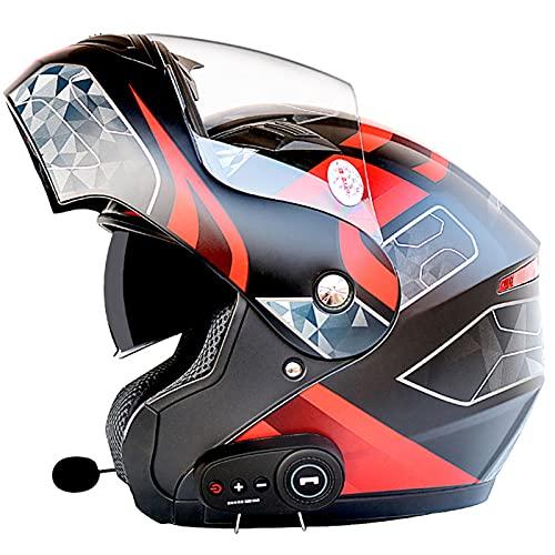 ZPTTBD Bluetooth Casco Moto Modular Certificado ECE Cascos de Moto Integral Hombre Mujer con Doble Visera para Motocicleta Scooter, Casco Moto con Bluetooth Integrado (Color : B, Size : (XL/61-62CM))