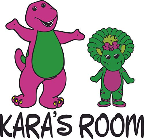 Barney and Friends Baby Bop Dinosaur Customized Wall Decal - Custom Vinyl Wall Art - Personalized Name - Baby Girls Boys Kids Bedroom Wall Decal Room Decor Wall Stickers Decoration Size (20x20 inch)