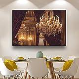 hetingyue Home Design Ölgemälde Wandkunst Kronleuchter Bild Leinwand Kunstdruck beleuchten Malerei Poster und drucken Wohnzimmer Dekoration rahmenlose Malerei 40x60cm