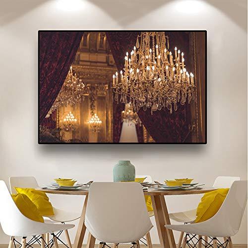 hetingyue Home Design Ölgemälde Wandkunst Kronleuchter Bild Leinwand Kunstdruck beleuchten Malerei Poster und drucken Wohnzimmer Dekoration rahmenlose Malerei 20x30cm