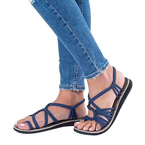 Sandalen Damen ABsoar Frauen Flip Flops Kreuzband Geflochtene Sandalen Roman Schuhe Sommer Woven Strap Mode Strand Hausschuhe Flacher Anti-Rutsch