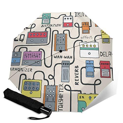 Paraguas plegable para bicicleta, estilo vintage, color blanco y negro, para abrir...