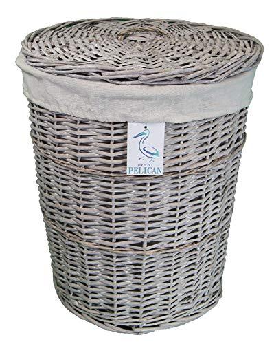 Cestas de mimbre de sauce para la colada y la colada, color gris y blanco, forro lavable extraíble, solución de almacenamiento natural, ropa de baño o dormitorio (gris, redondo, 70 l)