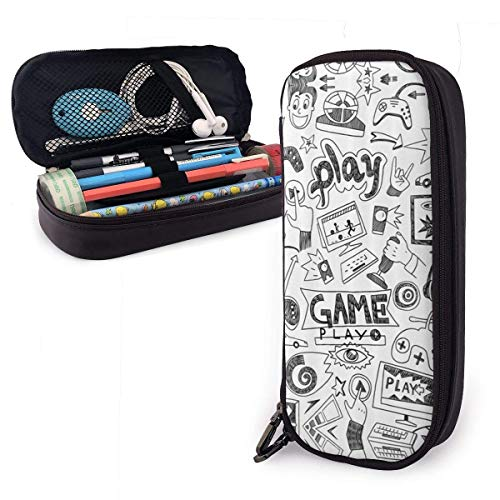 XCNGG Game Leather Pencil Case Big Capacity Pencil Pouch Large Pencil Holders Makeup Bag Double Zippers for Teen Boys Girls School Students Pens