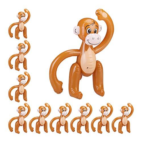 Relaxdays 10 x aufblasbarer AFFE, Äffchen Schwimmtier, Dschungel Party Deko, Safari, Karneval, Kinder Wasserspielzeug, braun