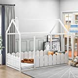 Twin Size Wood Bed House Bed Frame with Fence, Cabin Bed, Floor Bed, Nursery Furniture, Kids Tent Bed Play Tent (White)