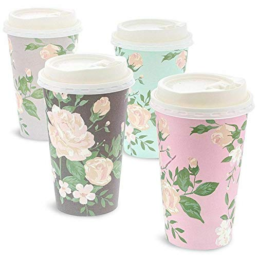 48 Pack Vintage Floral Paper Insulated Coffee Cups with Lids 4 Designs-Measuring cups-Drinking glasses-Coffee cups-Coffee cup-Plastic cups-Tea cup set-Iced coffee cup-Kids cups-Measuring cups