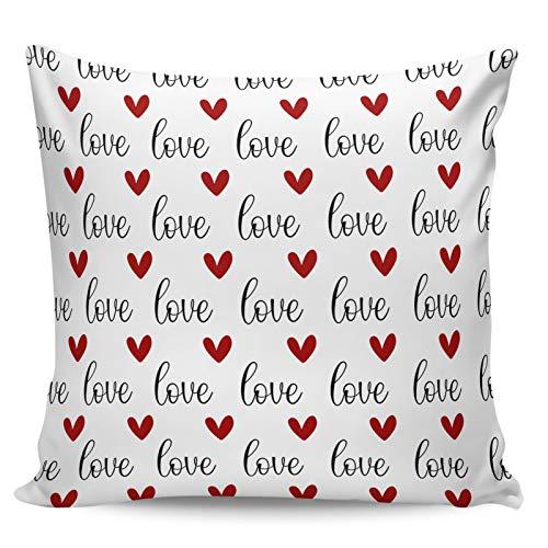 Scrummy Fundas de almohada de 45,7 x 45,7 cm para el día de San Valentín, diseño de corazón, color rojo