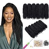 6 Packs Marley Twist Braiding Hair, Black Natural Twist Marley Hair Afro Kinky Extensions Curly Hair Extensions Synthetic Fiber Braiding Braids Hair (18 inch,1B)