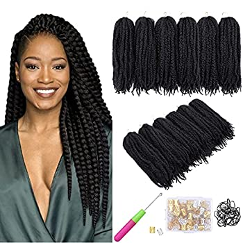 6 Packs Marley Twist Braiding Hair Black Natural Twist Marley Hair Afro Kinky Extensions Curly Hair Extensions Synthetic Fiber Braiding Braids Hair  18 inch,1B