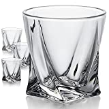 WHISKEY WITH A SWIRL - Whether you prefer whiskey neat, on the rocks, or even an Old Fashioned cocktail, James and Jack would approve of this modern set of 4 curved design whiskey glasses. Raise the bar at your next dinner party or poker night with t...