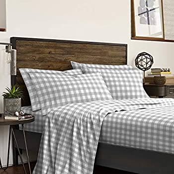IZOD Buffalo Check Super Soft Fade and Wrinkle Resistant Sheet Set Twin XL Gray