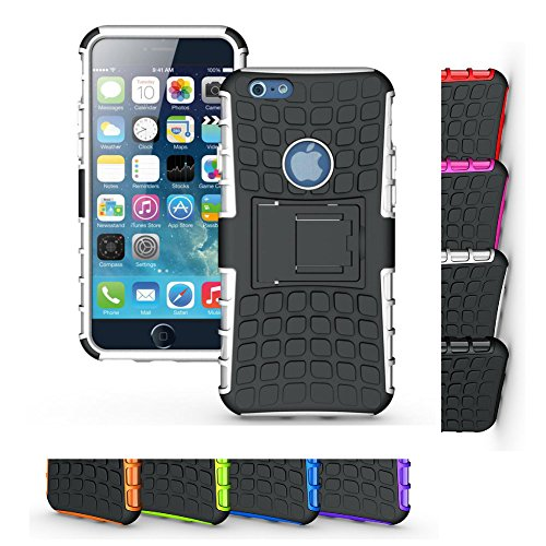 iPhone 6s/6 Stand Case, HLCT Rugged Non-Slip Dual-Layer Shock Proof Cover with Built in Kickstand for iPhone 6S/6 (White)