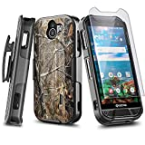 NZND Case for Kyocera Duraforce Pro 2 (E6900 E6910 E6920) with Tempered Glass Screen Protector, Belt Clip Holster Shell, Ultra Slim Thin Cover w/Built-in Kickstand Shockproof Case -Camo