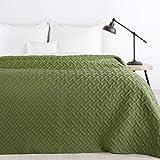 Design91 Tagesdecke Alara Gesteppter Bettüberwurf Einfarbig Steppung 3D Geometrisches Muster Ganzjährig (Olivgrün, 220 x 240 cm)