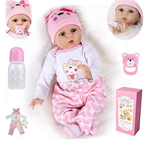 MAIHAO 22 Zoll Reborn Babys Madchen echte Weiche Silikon Babypuppe Neugeborenes Junge Realistische Puppe 55CM