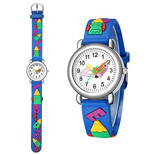 CXJC Mode wasserdichte Cartoon-Uhr für Jungen und Mädchen, Nette farbige Zeigeruhr, Bleistift-Bleistift-Muster-Kunststoffbandquarz-Uhr (Color : B)
