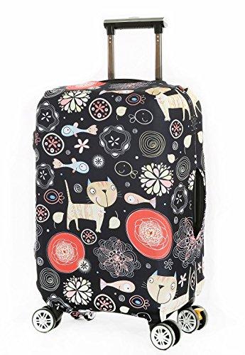 Cover Proteggi Valigia Protettore dei Bagagli Valigia Borsa Elastica Suitcase Cover Proteggi bagagli luggage Cover Pop Gatto Pesce (L 26-28 Pollici)